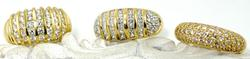 Impressive Dome Style Set of 3 14kt Gold Rings