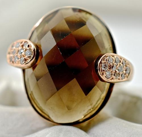 Rose Gold Smokey Quartz 14K Ring