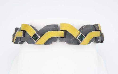 24KT Gold & Sterling Silver Tourmaline Bracelet