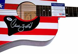 Chelly Wright Autographed Signed American Flag Guitar PSA
