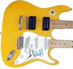 Steven Tyler Brad Whitford Autographed Signed Doubleneck Guitar AFTAL