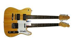 Dave Mustaine Autographed Doubleneck Guitar  COA AFTAL
