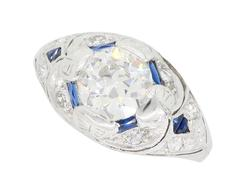Vintage Platinum and Blue Sapphire Diamond Ring