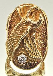 Gents Very Unique Design 14kt Gold Diamond Ring