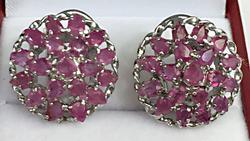Natural Ruby Sterling Silver Earrings