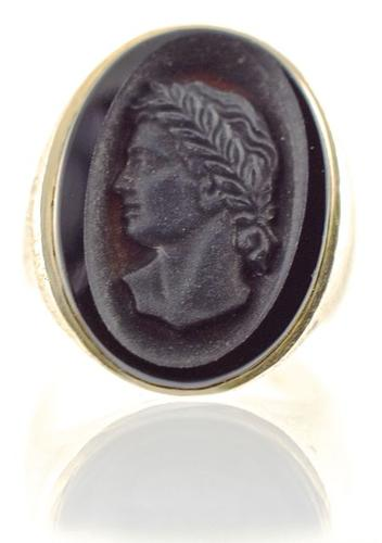 Vintage Men's Carved Black Onyx 14K Ring