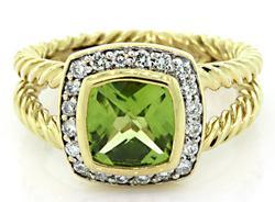 David Yurman 18K Peridot & Diamond Ring