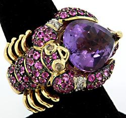 Stunning Amethyst & Multi Colored Sapphire Ring