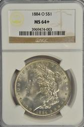 Lovely virtual Gem BU 1884-O Morgan Dollar. NGC MS64+
