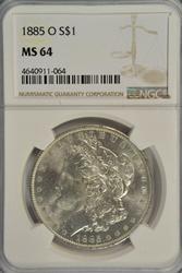 Great near Gem BU 1885-O Morgan Silver Dollar. NGC MS64