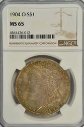 Great color Gem BU 1904-O Morgan Silver Dollar NGC MS65