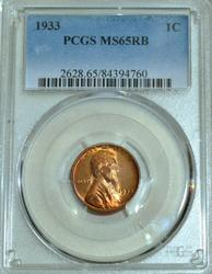1933 Lincoln Wheat Cent in PCGS MS65RB