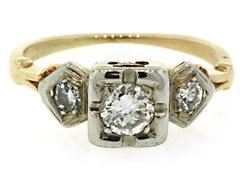 Vintage Diamond Ring in 14K Two Tone
