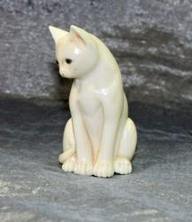 Hand-carved Natural Ivory Cat Netsuke