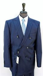 Handsome Double Breasted Stripe Suit, Made In Italy