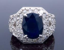 Glamorous Blue Sapphire and Diamond Ring