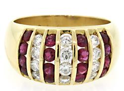Channel Set Diamond & Ruby Ring in 18K