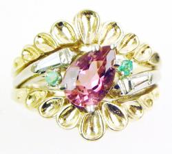 Early 14K Multi-Gemstone Suffragette Ring