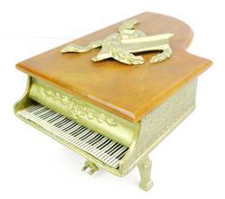 Vintage Bakelite Piano Jewelry Music Box, Works