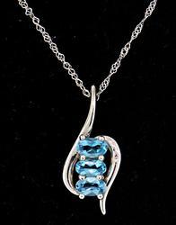 Oval Blue Topaz Pendant Necklace