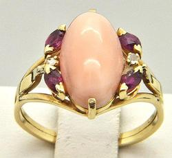 Large 14kt Gold Ring With Oval Pink Opal Center Stone
