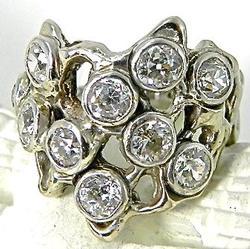 Unique 14K Free Form Diamond Ring