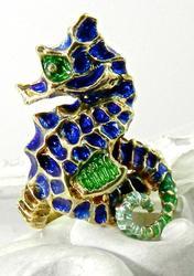 Delightful 14K Enamel Seahorse Ring