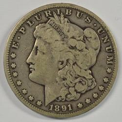 Key date 1891-CC Morgan Silver Dollar. Circ