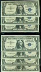 7 Gem CU 1957 $1 Silver Certificates with consec runs