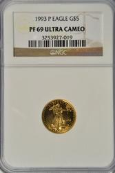 Better date 1991-P PRF $5 Gold Eagle NGC PF69 ULTRA CAM