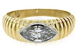 Two Tone East-West Diamond Marquise Band in 18K