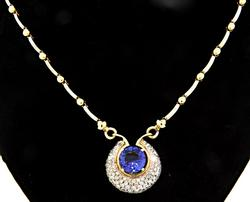 Striking Diamond & 7.0 CT Tanzanite 2 Tone Necklace