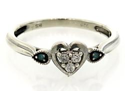 Teal & White Diamond Heart Ring in Sterling