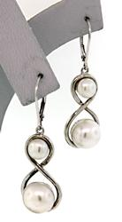 Double Pearl Drop Earrings in Sterling