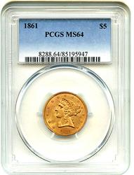 Mint State 1861 $5 Gold Half Eagle, PCGS MS64