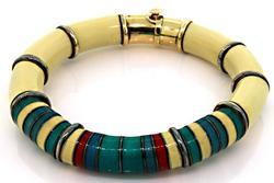 La Nouvelle Bague Enamel Bangle Bracelet with 18K