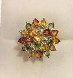 Multi Colored Sapphire & 14kt Gold Ring