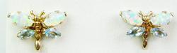 10K Opal & Blue Topaz Butterfly Earrings