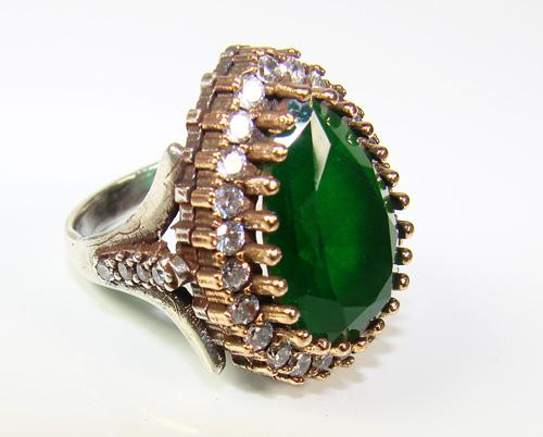 Glamorous Large Gemstone Classic Design 925 Silver Ring
