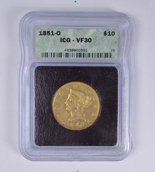 1851-O $10.00 Liberty Gold Eagle - ICG