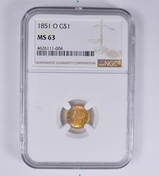 MS63 1851-O Liberty Gold Dollar - NGC Rainbow Toned