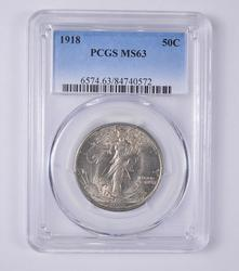 MS63 1918 Walking Liberty Half Dollar - PCGS Graded