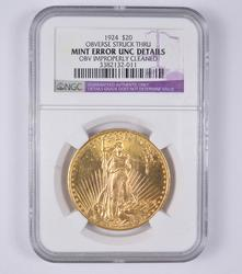 Mint Error 1924 $20St Gaudens Double Eagle - NGC