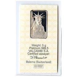 Credit Suisse 5 Gram Platinum Bar Statue Of Liberty