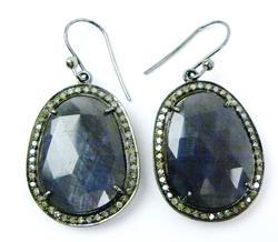 Rose Cut Large Sapphires & Mine Cut Diamond Earrings