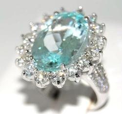 14kt Gold Paraiba Tourmaline & Diamond Ring