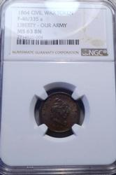 1864 Liberty/  Our Army Patriotic Civil War Token NGC MS 63 Brown holder