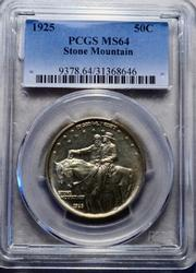 Choice Frosty 1925 Stone Mountain Comm Half Dollar PCGS MS 64 holdered