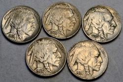 5 BU 1938 D Buffalo Nickels