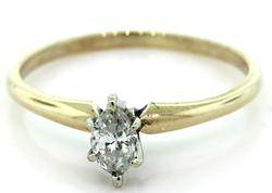 Two Tone Diamond Marquise Solitaire Ring